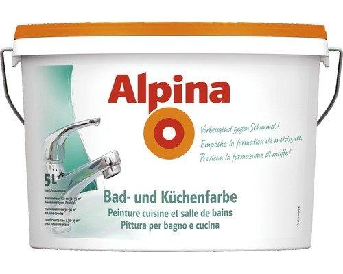 Alpina 5 Liter Bad & Küchen Spezialfarbe, Weiss Matt, Wandfarbe, Vorbeugend gegen Schimmel