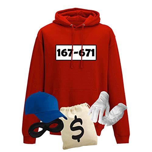 Hoodie Panzerknacker Herren Deluxe+ Kostüm-Set Wunschnummer Karneval JGA XS - 5XL Fasching JGA Party Sitzung, Größe:2XL, Logo & Set:Standard-Nr./Set deluxe+ (167-761/Hoodie+Cap+Maske+Hands.+Beutel