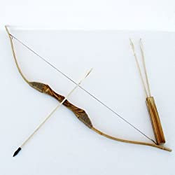 top 10 bow and arrow Youth wooden bow and arrow with quiver and three arrows set