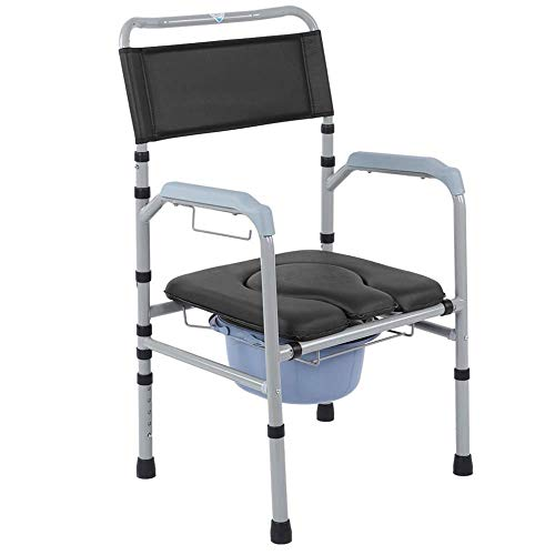 Commode stoel, volwassen gebruik aluminiumlegering frame antislip vouwen wc nachtkastje badkamer stoel met verwijderbare pot verstelbare hoogte