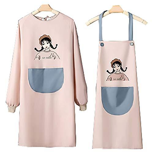 XYW Delantal - Fashion Impermeable Mano Que Limpia el Delantal Cubierta de Manga Larga Linda Puede Limpiar Las Manos Tie Hornear Cocina Accesorios ordenados (Color : #8, Size : One Size)