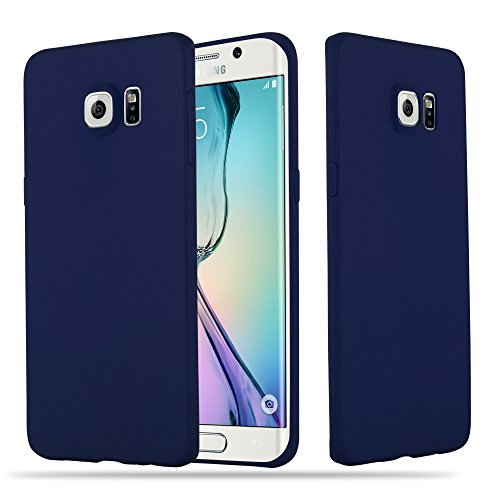 Cadorabo Hülle für Samsung Galaxy S6 Edge Plus - Hülle in Candy DUNKEL BLAU – Handyhülle aus TPU Silikon im Candy Design - Silikonhülle Schutzhülle Ultra Slim Soft Back Cover Case Bumper