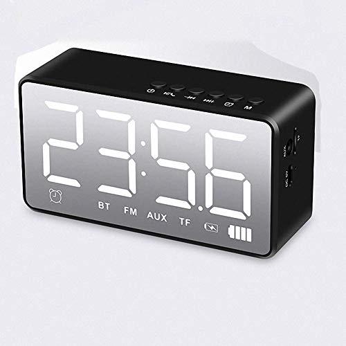 Uso en el hogar Espejo LED Reloj Despertador con Pantalla Digital, Altavoz Bluetooth Radio FM inalámbrica Reloj electrónico de Mesa para decoración del hogar, Rosa