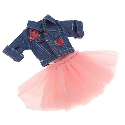 non-brand Chaqueta Vaquera de Mangas Largas + 4 Capas Vestido de Baile para 12 Pulgadas Blythe Takara Azone Dolls 1/6 BJD - Azul Rosado