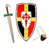 HERALDUM Spada e scudo per bambini in legno, cavaliere medievale templare, armi giocattolo.