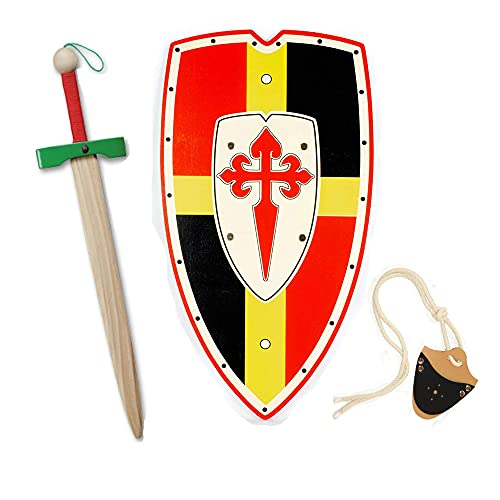 HERALDUM Espada y Escudo para Niños de Madera, Caballero Medieval Templario,Armas de Juguete.