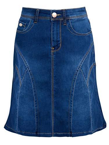 SS7 Damen Stretch Jeans Ausgestelltes Panel Rock