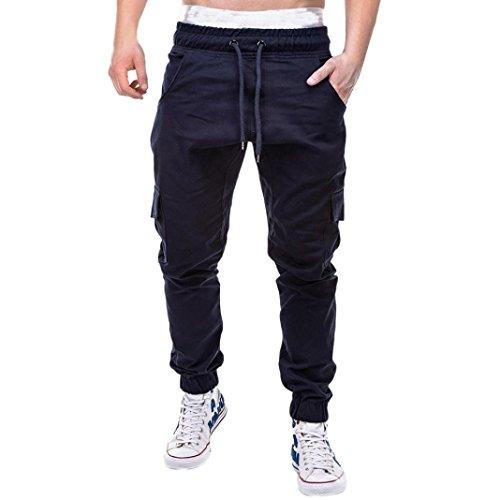 Ba Zha HEI Mode Herren Sport Pure Color Bandage beiläufige lose Sweatpants Drawstring Pant Mode Männer Persönlichkeit Freizeit Einfarbig Spitze Multi-Tasche Bewegung Hose