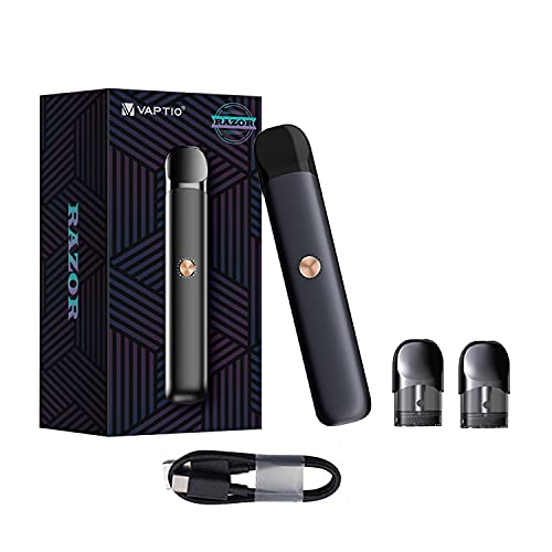 Vaptio Razor Kit Vape Pen Starter Kit con batteria 550mAh 2.0ML Atomizzatore Kit vaporizzatore sigaretta elettronica No E Liquid No Nicotine (KIT, Razor kit Nero)