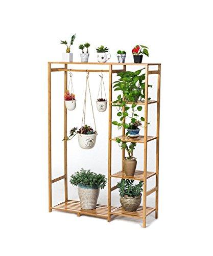 LB Multi-couche en bois massif Fleur Rack-type Flowerpot Rack Hanging Wooden Bonsai Frame Salle de séjour avec balcon Fleur étagère Étagère de pot de montage