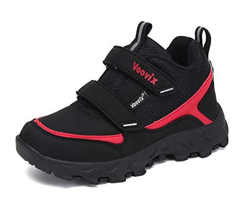 Voovix Kinder Schuhe Wanderschuhe Klettverschluss Trekkingschuhe Outdoor Freizeitschuhe für Jungen Sportschuhe Schwarz Rot33