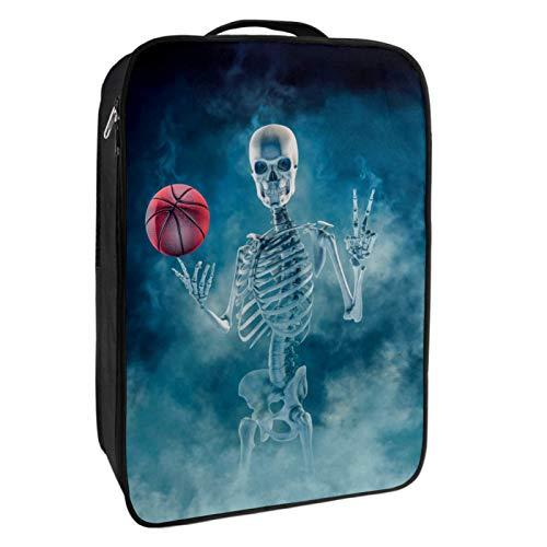 Caja de almacenamiento para zapatos de viaje y uso diario The Phantom Basketball Player Skull Zapatero organizador portátil impermeable hasta 12 yardas con doble cremallera y 4 bolsillos