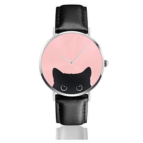 Reloj clásico, negro gato negro correa de cuero muñeca relojes casuales