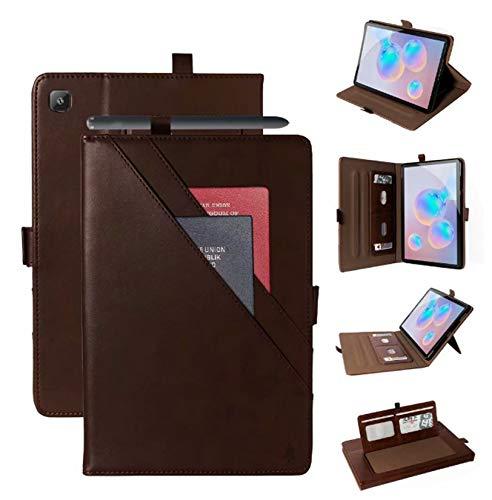 DANYCU Compatible con Samsung Galaxy Tab A7 T500 / T505 Caja de PU de 10.4 Pulgadas Tablet Shell con slotes de Kickstand y Tarjetas Funda Protectora a Prueba de choques para Mujer,Coffee Color
