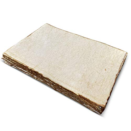Handmade Antique Deckle Edge Blank Paper - A4 Size Package of 50 - Watercolor Mixed Media Loose Leaf Paper for Writers, Invitations, Crafts - Thick 130 GSM Recycled Paper - 8.25 x 11.7'