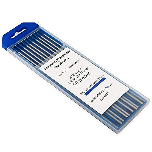 "KINGQ TIG Welding Tungsten Electrodes 2% Lanthanated 3/32"" x 7"" (Blue, WL20) 10-Pack"