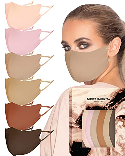 KARIZMA Face Wardrobe Cloth Face Mask. 6 Soft Masks Washable Fabric with Adjustable Ear Loops. 'Earth Shades' Pack. Face Mask Reusable and Stretchy. Fabric Face Masks 6 Pieces