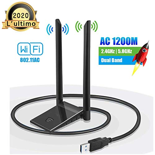 Chiave WiFi Dongle Adattatore Antenna USB per PC Wireless AC 1200 Mbps 5 GHz / 867 Mbps 2,4 GHz / 300 Mbps Dual Band 5dBi Rete Windows XP/Vista / 7/8/