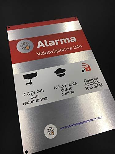 Cartel alarma videovigilancia exterior de alumnio