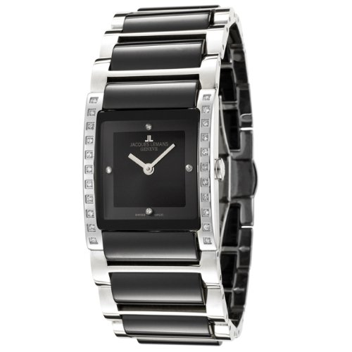 Jacques Lemans Women's GU210E Geneve Collection Gloria Diamond Accented Black Ceramic Stainless Watch
