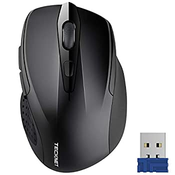 TECKNET Pro 2.4G Ergonomic Wireless Optical Mouse with USB Nano Receiver for Laptop,PC,Computer,Chromebook,Notebook,6 Buttons,24 Months Battery Life 2600 DPI 5 Adjustment Levels