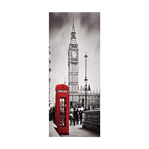 KEXIU 3D Cabina de teléfono del campanario PVC fotografía adhesivo vinilo puerta pegatina cocina baño decoración mural 77x200cm