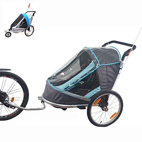 OLMME Fahrradanhänger für Kinder 2 Sitze Kinderwagen Jogger 2 in 1 Anhänger Transport Fracht Licht Zusammenklappbarer Anhänger Aus Aluminiumlegierung (blau Grau)