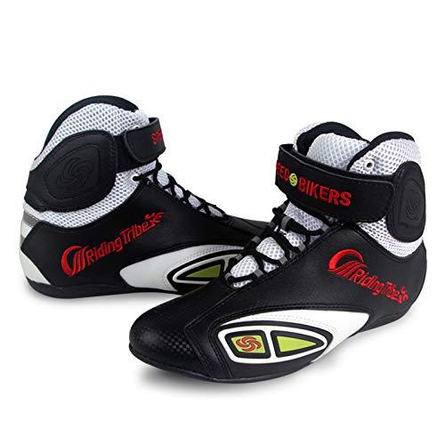 Sebasty Botas de Moto Transpirables,Zapatos de Moto,Zapatos de Cuero de PU De Motocross de Carreras Antideslizantes para Hombres y Mujeres,42