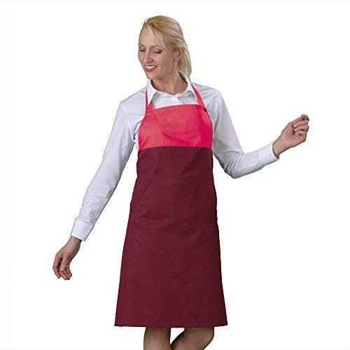Label blouse Delantal con Dorsal Bi Color Rosa Burgundy Ajuste presión Parte Talla única