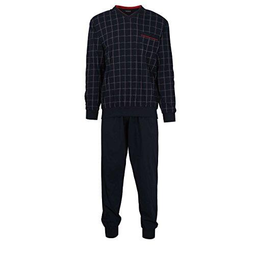 Götzburg Herren Pyjama, Langarm, Baumwolle, Single Jersey, Navy, kariert, mit Bündchen 60