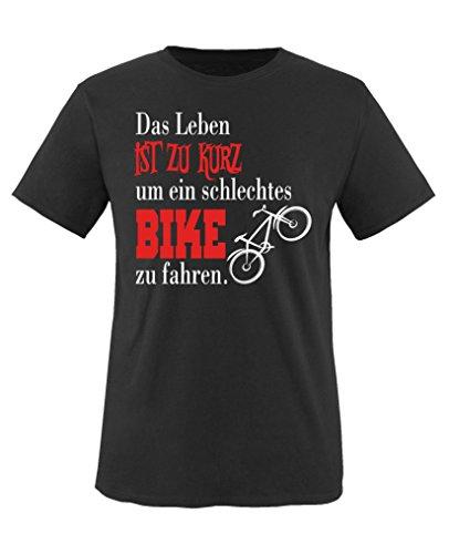Comedy Shirts - Das Leben ist zu kurz um EIN schlechtes Bike zu Fahren - Mädchen T-Shirt - Schwarz/Weiss-Rot Gr. 122/128