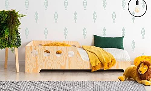 Mami | Cama para niños | Cuna Montessori Minihole | Colchón Smart (no incluido) Altura niño | Color madera natural | Grabado personalizado con frase