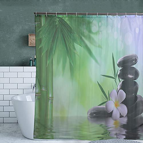 Bad Gardinen Duschvorhange 180x200cm Dekoration Wasser Grün Bambus Buddha Mit 12 Haken wasserdichte Mehltau Waschbar Duschvorhange