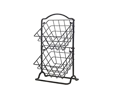 Gourmet Basics by Mikasa General Store 2 Tier Hanging Basket, Antique Black,5217596