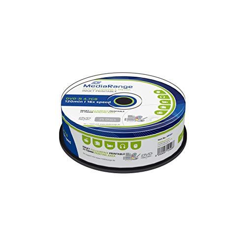 MediaRange DVD-R 4.7Gb|120Min 16x Speed, Inkjet Fullsurface Printable, Cake 25