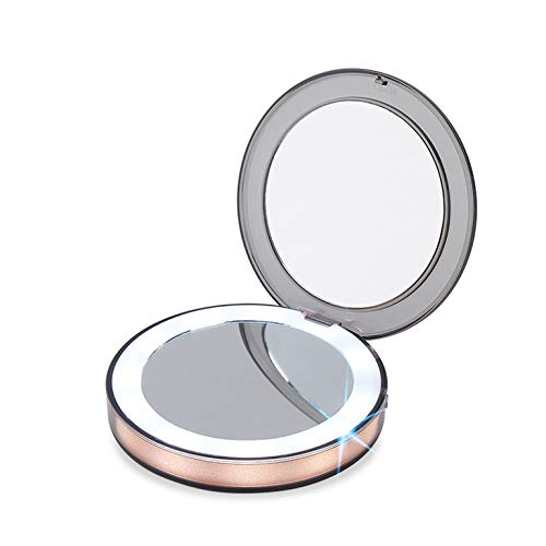 Miroir portable LED, Smart Human Body Night Light, 3X Magnifying Glass, Make-Up at Any Time, Easy To Carry, Give Ladies A Gift (Rose Gold)