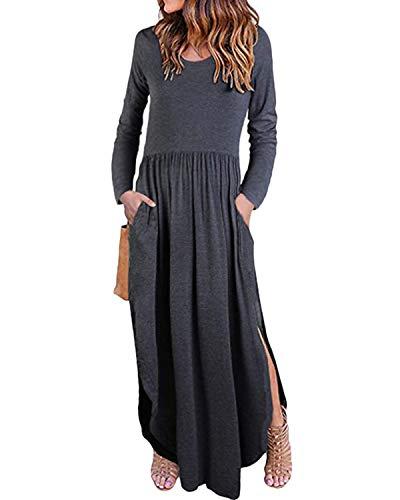 KIDSFORM Dam maxiklänning långärmad blommig baggy balklänning solid ficka fest långa klänningar Kaftan