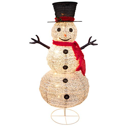 Lighted Outdoor Snowman Christmas Decorations, Pre-Lit Light Up White Snowman with Top Hat and 8 Built-in Bulbs, Collapsible Holiday Snowman for Home Indoor Lawn Yard Commercial Xmas Decor, 4 Feet