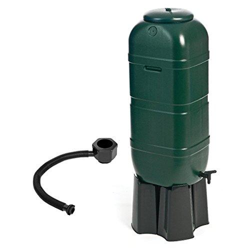 Set - Schmale Regentonne mit Wasserhahn und Füllautomat - 100 l