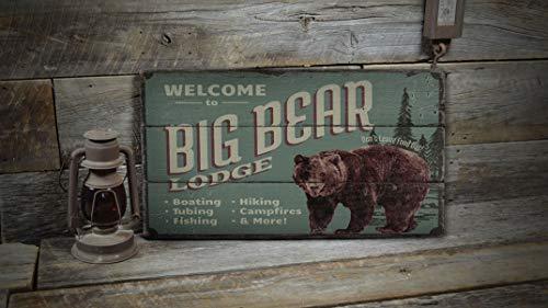 Ced454sy Big Bear Lodge Schild, Bär Lodge, Holzschild, Holzbär-Dekor, Holzhütten-Dekor, Holzhütten-Dekoration – alte Holzschilder Dekor