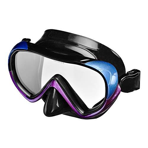IST Burano Single-Lens Dive Mask, Black Silicone/Purple