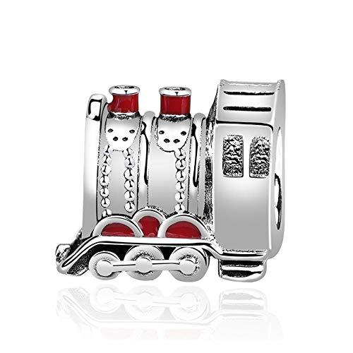 Charm Anhänger,925 Sterling Silber Charms Perlen Rote Emaille Express Train Charm Fit Original Armbänder Frauen Diy Schmuck