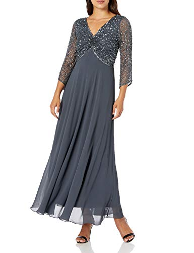 J Kara Women's Petite 3/4 Sleeve V-Neck Beaded Top Long Gown, Grey/Gun, 16P (Apparel)