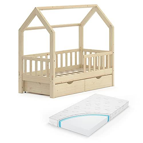 VitaliSpa Kinderbett Hausbett Spielbett Wiki 70x140 inkl Lattenrost (Natur, mit Schubladen & Matratze)