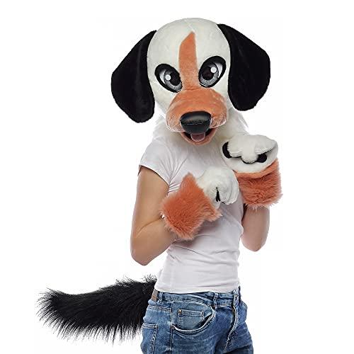 White dog fursuit head I Kids fursuit
