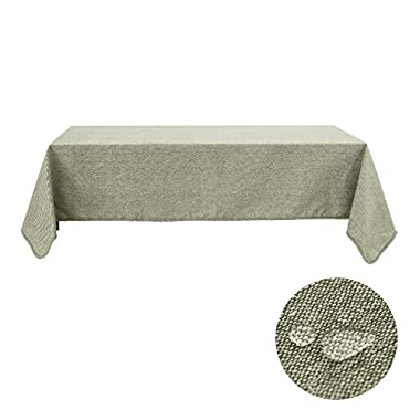 Deconovo Tablecloth Solid Cotton Tablecloths For Rectangle Tablecloths 60 x 84 Inch Oil Green