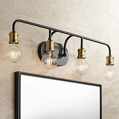 "Aras Modern Industrial Wall Light Black Brass Hardwired 28 1/2"" Wide 4-Light Fixture Non Glass for Bathroom Vanity Mirror - Possini Euro Design"