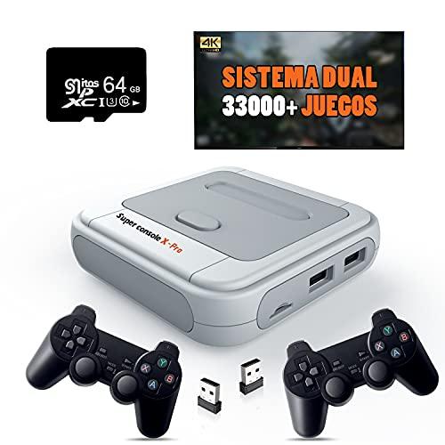 Super Console X PRO Consola de videojuegos, más de 33000 juegos incorporados Consola de juegos retro portátil para salida 4K TV HD, con controlador dual compatible con 5 jugadores, LAN / WIFI 64G