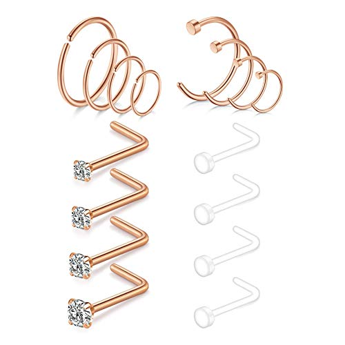 Nose Ring Hoop Nose Studs 18G Stainless Steel & Acrylic Clear Bioflex Retainer Helix Piercing Hoop Jewelry Nose Rings 16PCS-Rose Gold