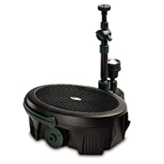 Instant solution for a clear and healthy pond: combined efficient pump and filtration package for ponds up to 300 gallons A comprehensive range of three fountain heads, fittings and adjusters included The built in 5 watt UV clarifier light kills gree...